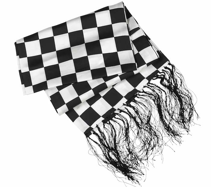 Black_N_White_Chequered_Silk_Polkadot_Fringed_Scarf